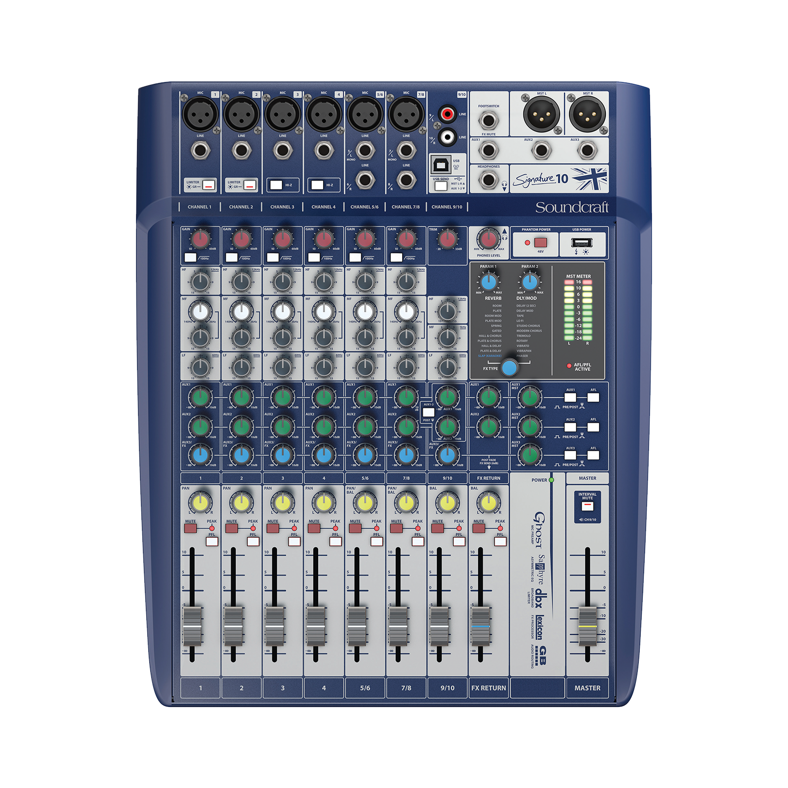 Signature 10 - Dark Blue - 10-input small format analogue mixer with onboard effects - Front