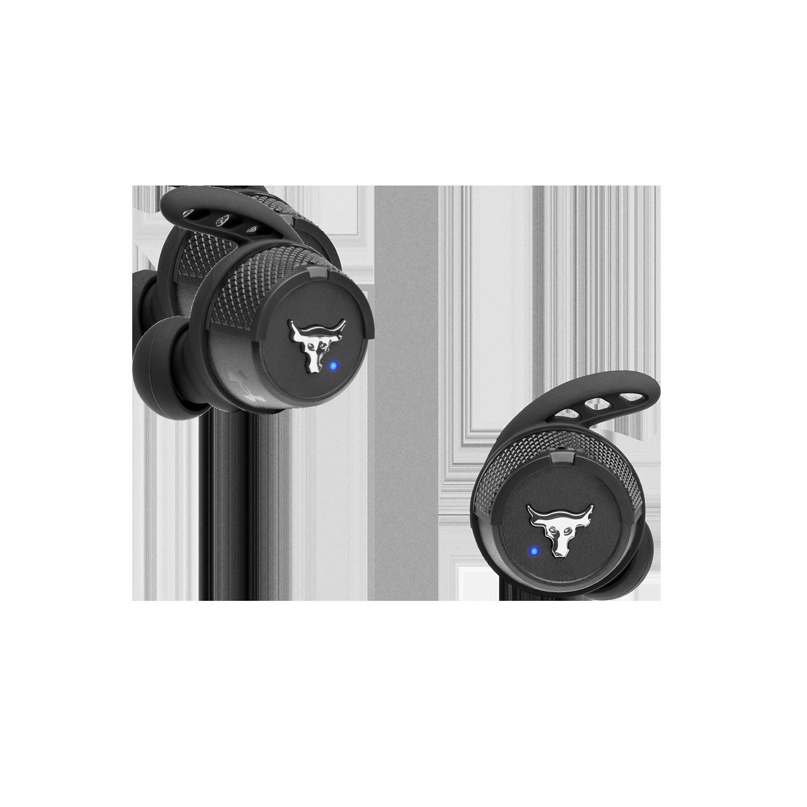 UA Project Rock True Wireless X - Engineered by JBL - Black - In-Ear Sport Headphones - Front