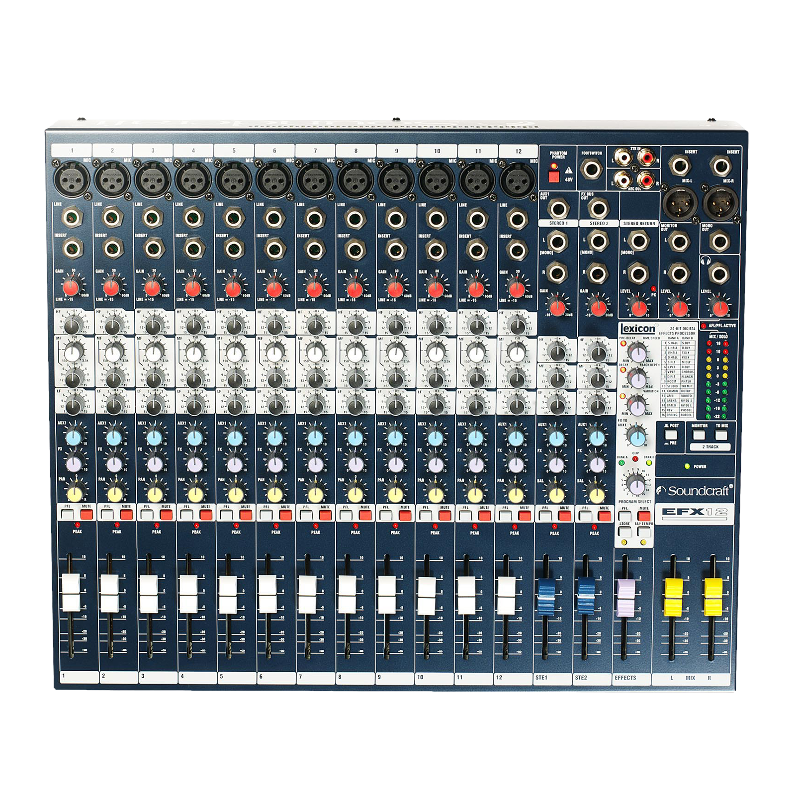 EFX12 - Dark Blue - Compact analogue 12 channel mixer with built in effects - Detailshot 2