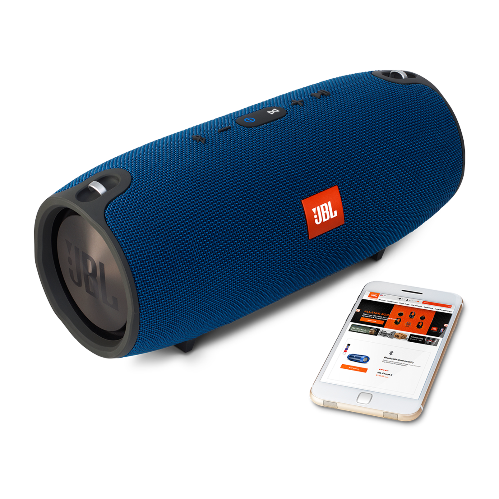 JBL Xtreme - Blue - Splashproof portable speaker with ultra-powerful performance - Detailshot 4