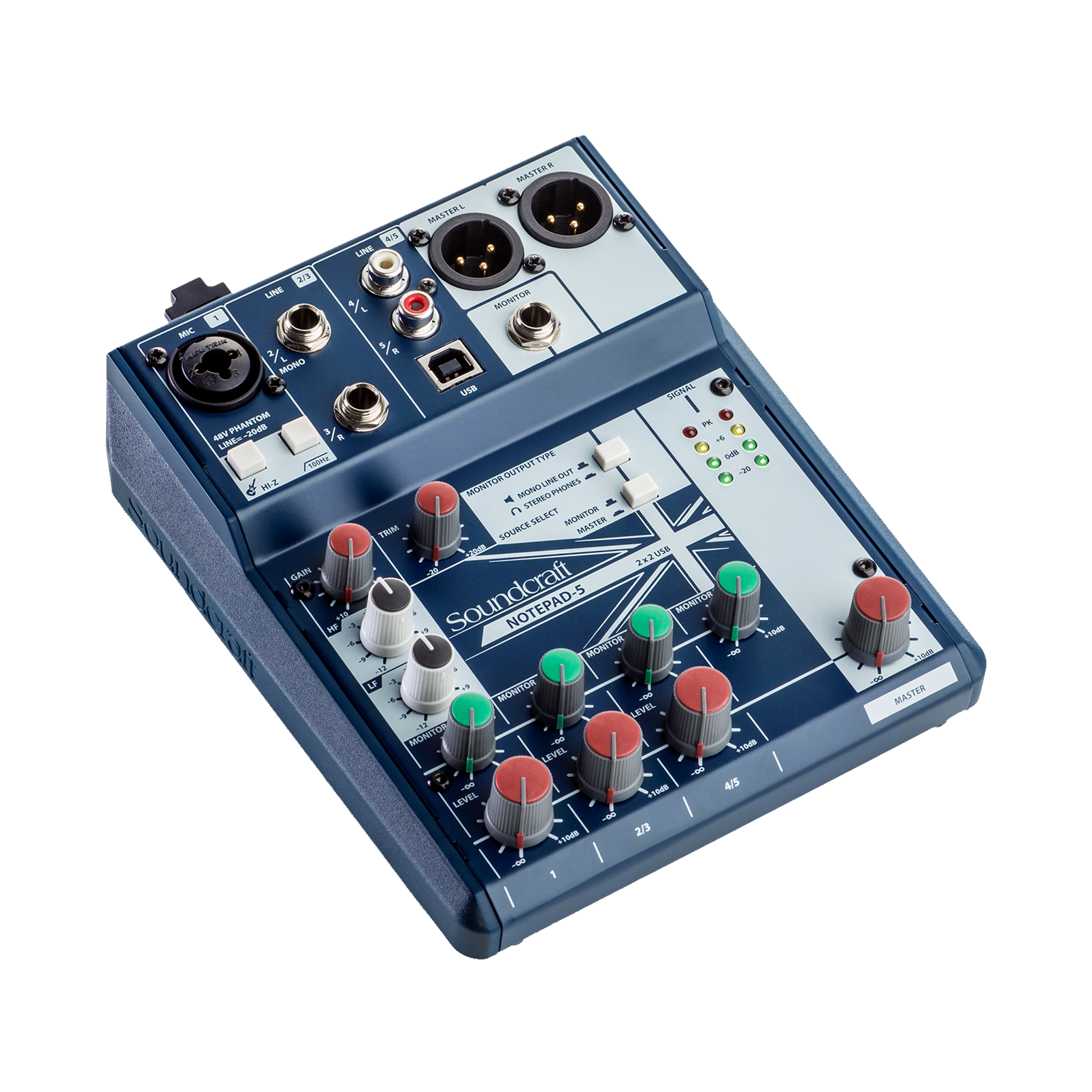 Notepad-5 - Dark Blue - Small-format analog mixing console with USB I/O - Hero
