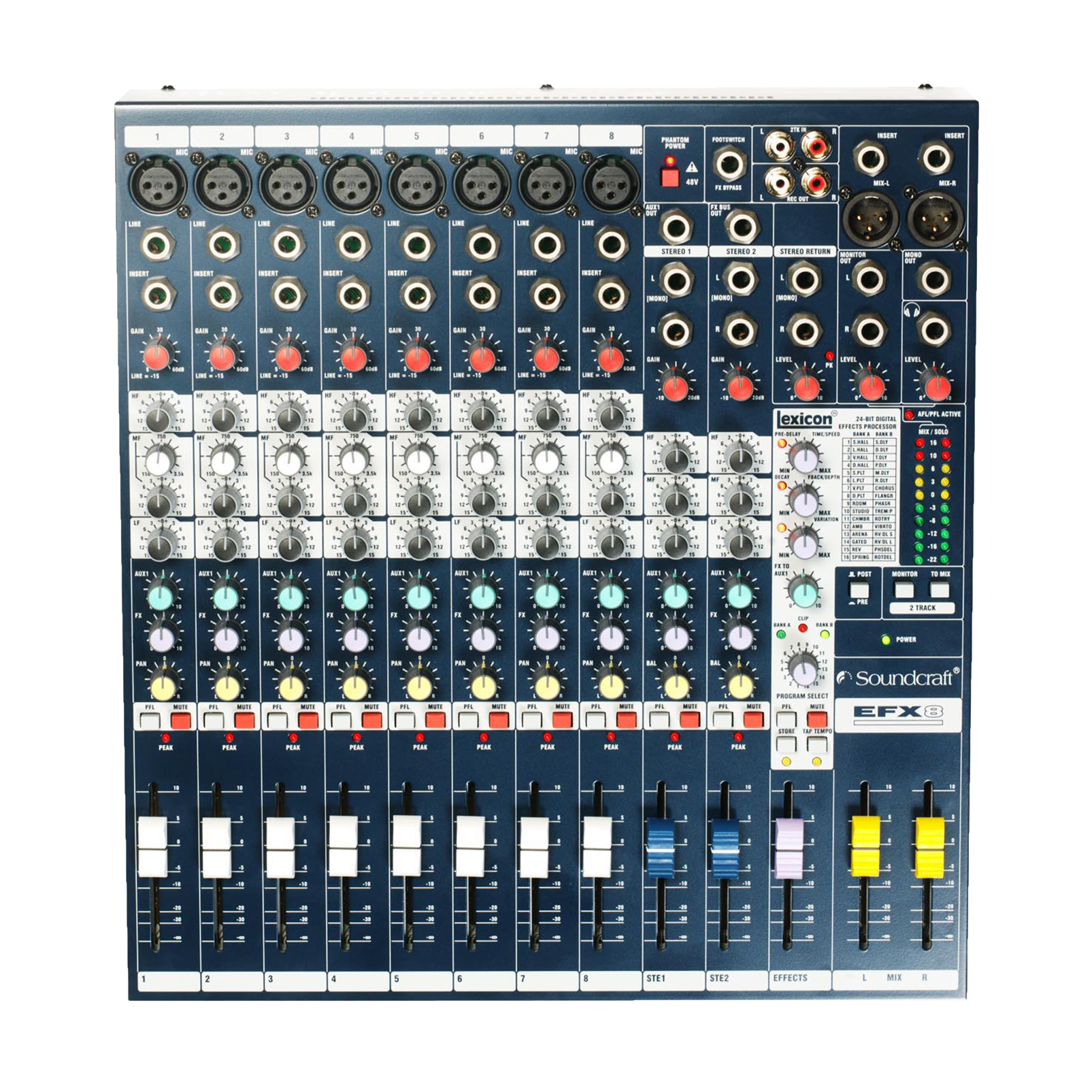 EFX8 - Dark Blue - Compact analogue 8 channel mixer with built-in effects - Detailshot 2