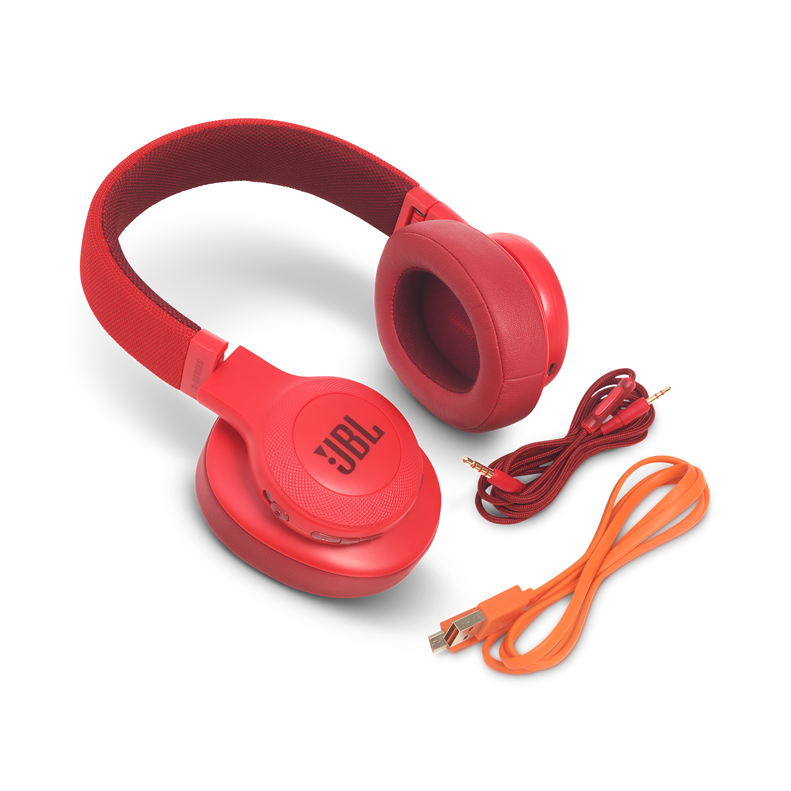 JBL E55BT - Red - Wireless over-ear headphones - Detailshot 5