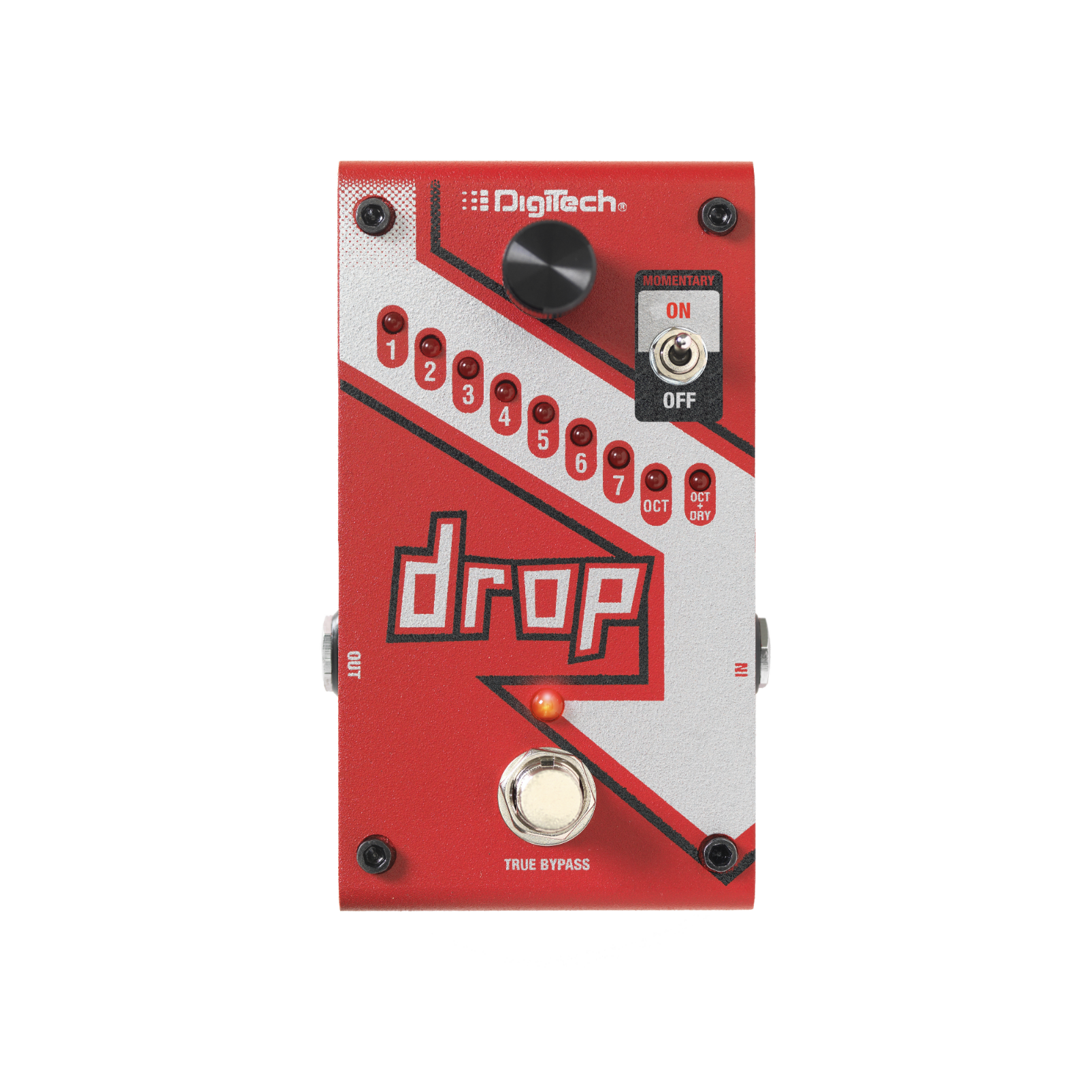 The Drop - Red - Polyphonic Drop Tune Pedal - Front