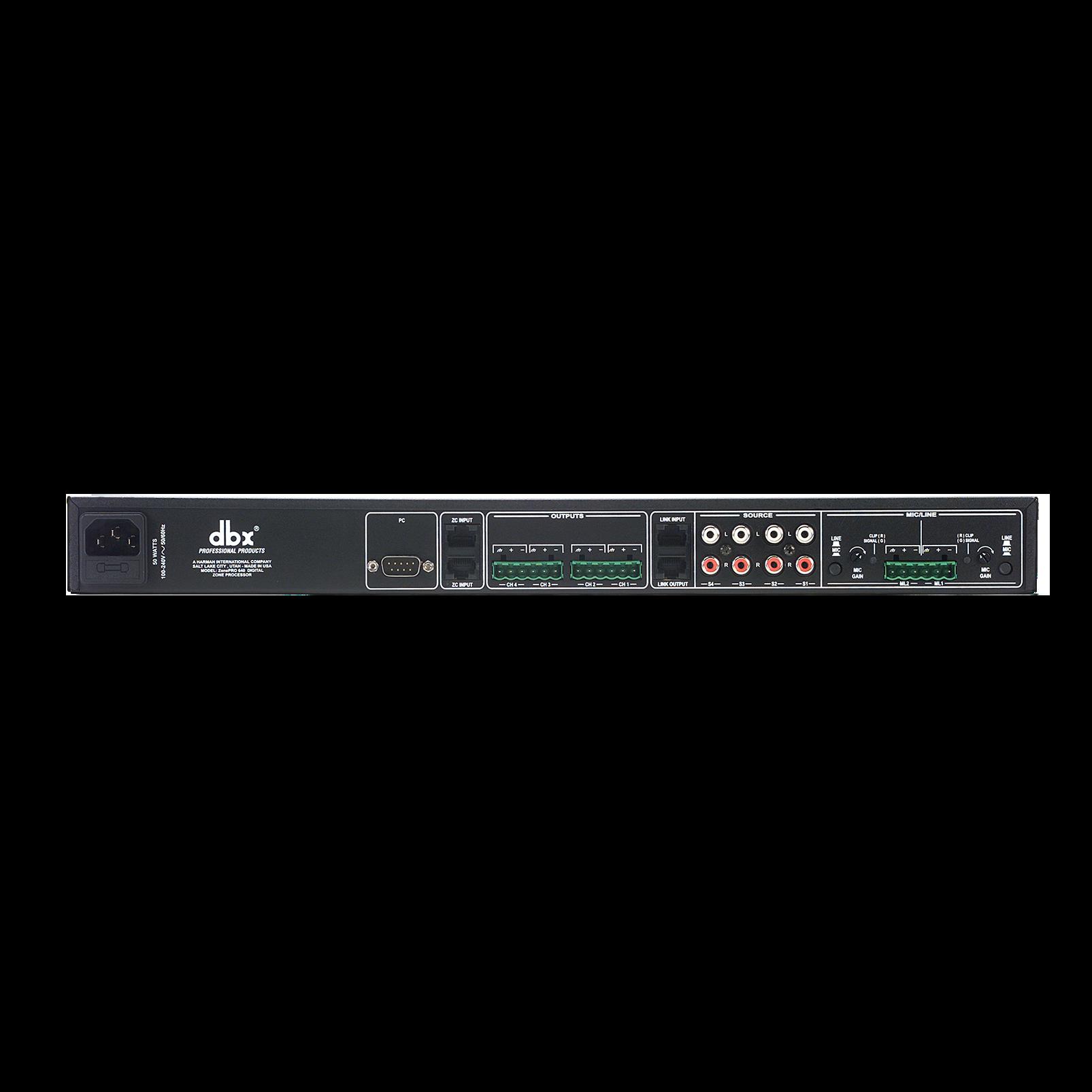ZonePro 640 - Black - 6x4 Digital Zone Processor - Back