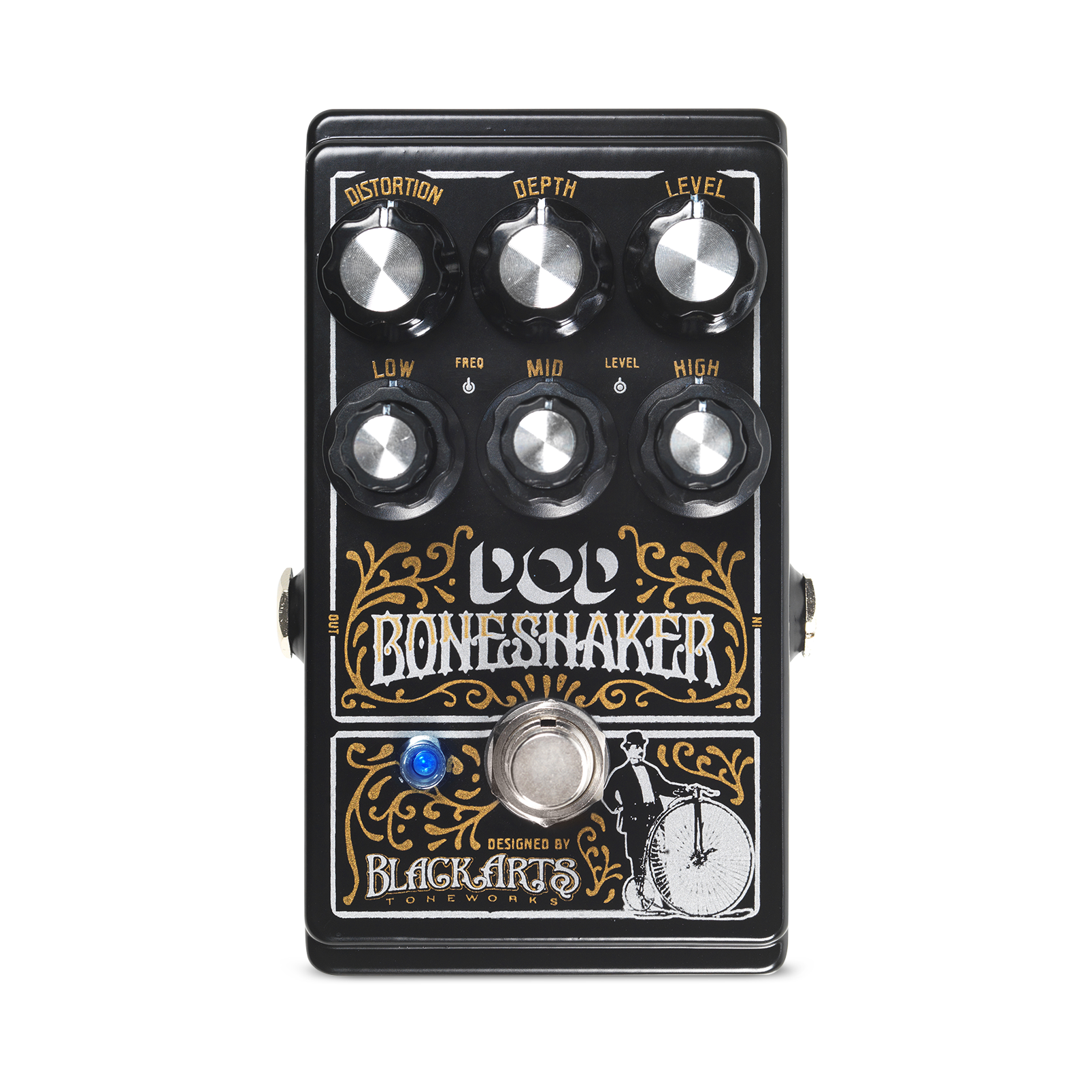 Boneshaker - Black - Distortion Pedal with 3-Band Semi-Parametric EQ - Front