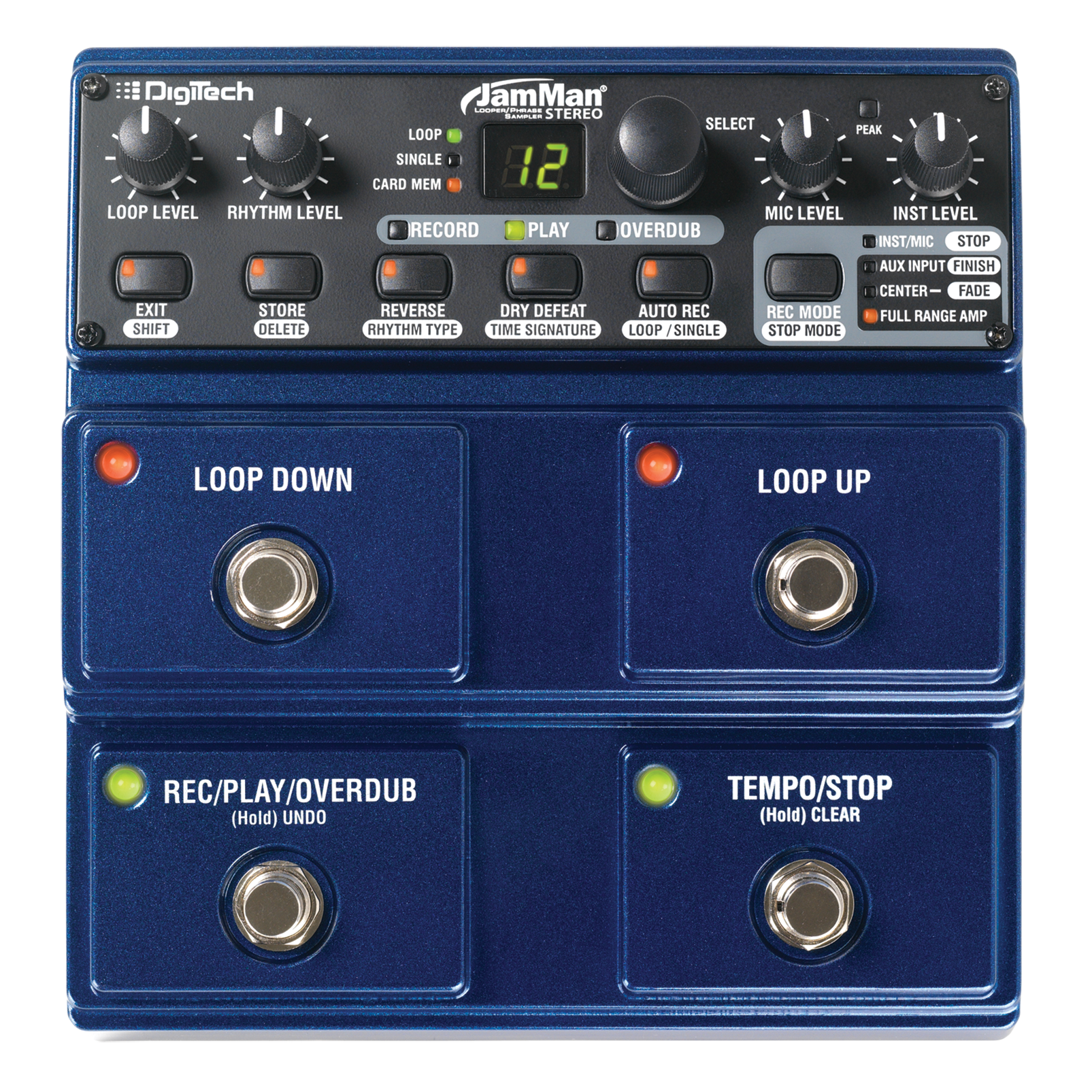 JamMan Stereo - Blue - Stereo Looping Pedal with 35 Minutes of Internal Recording Capacity, SDHC Card Expansion, and Included JamManager Loop Librarian Software - Front