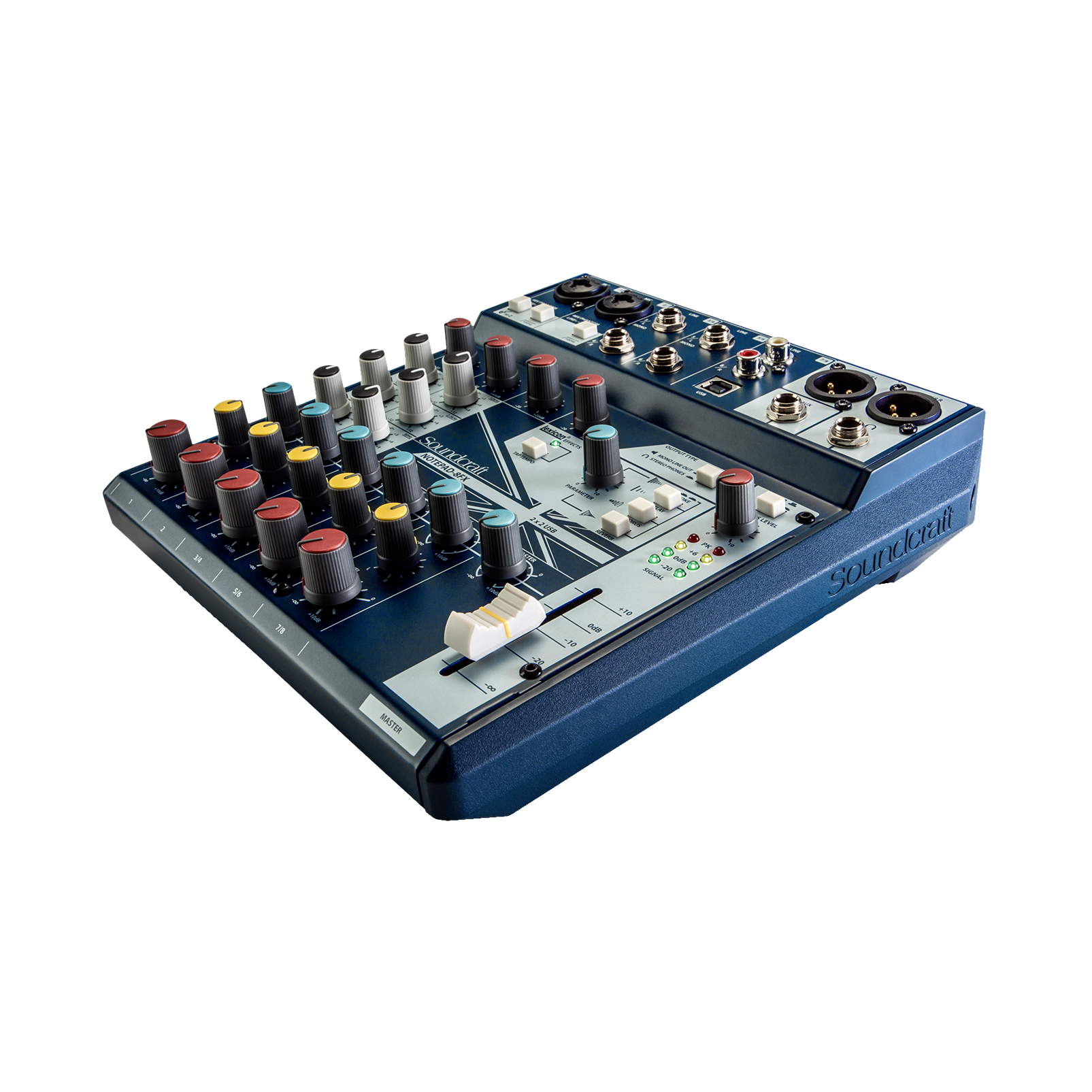 Notepad-8FX (B-Stock) - Dark Blue - Small-format analog mixing console with USB I/O and Lexicon effects - Detailshot 1