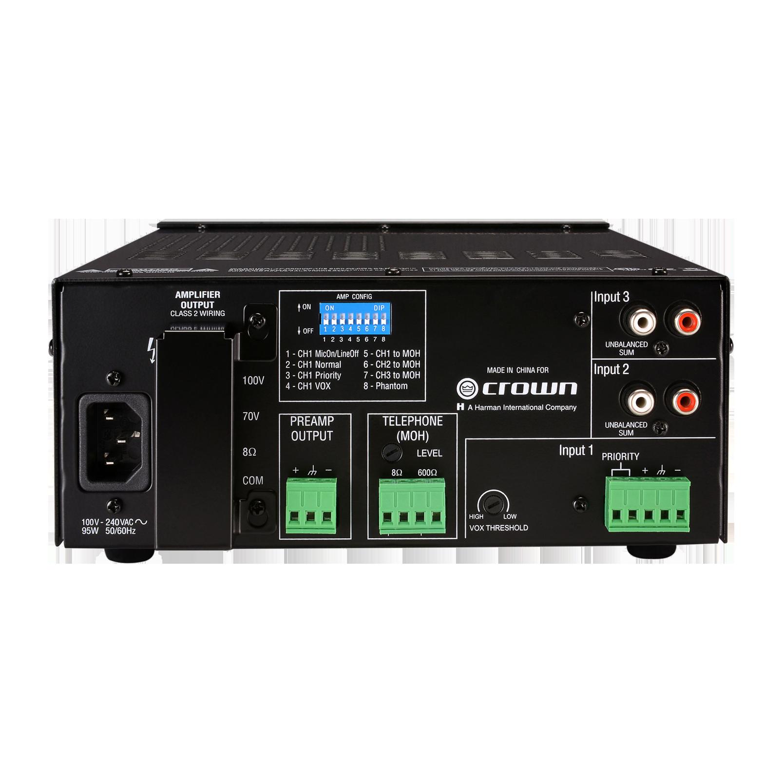 135MA (B-Stock) - Black - Three Input, 35W Mixer-Amplifier - Back