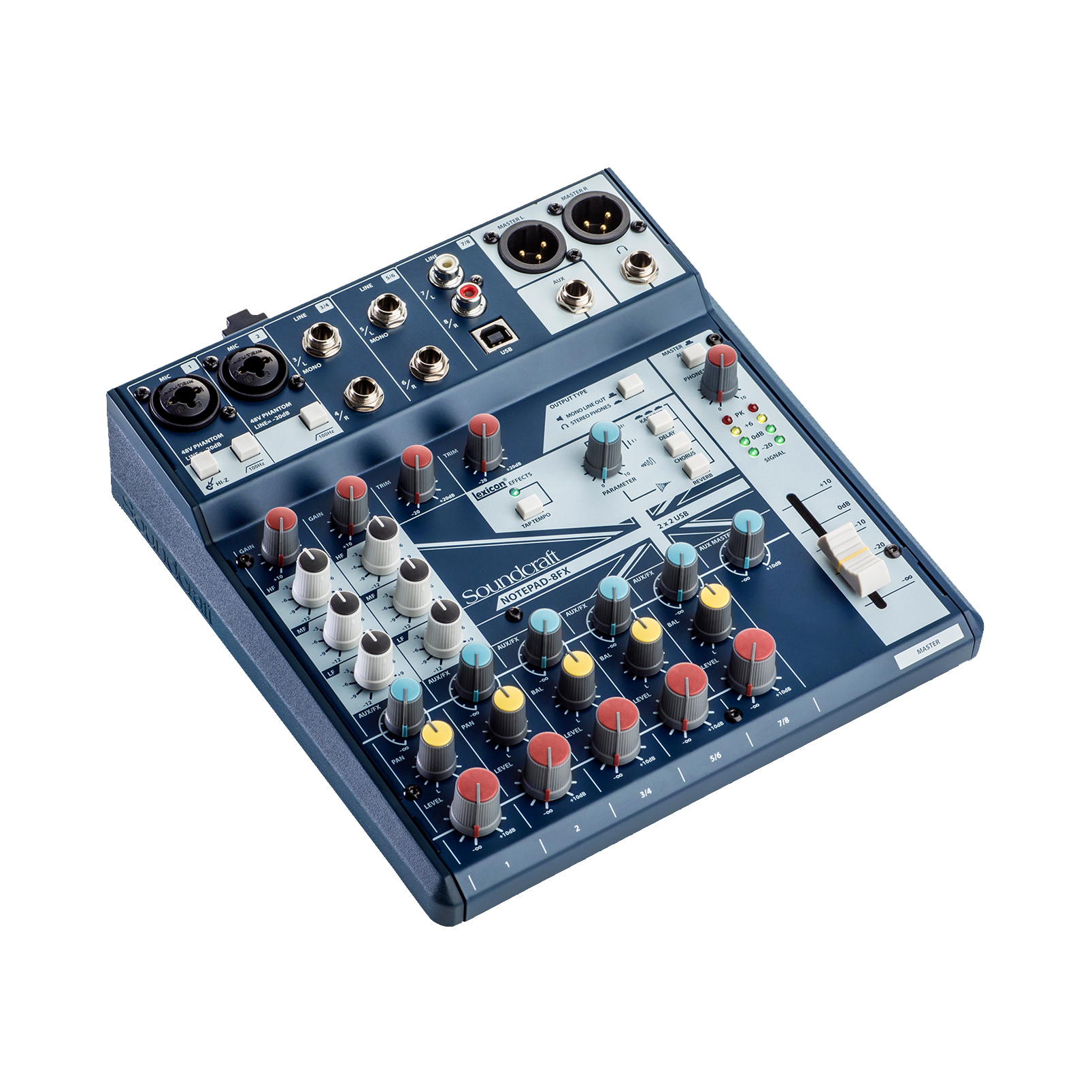 Notepad-8FX (B-Stock) - Dark Blue - Small-format analog mixing console with USB I/O and Lexicon effects - Hero