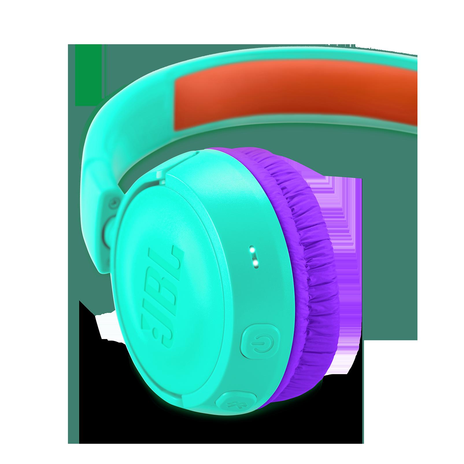 JBL JR300BT - Teal - Kids Wireless on-ear headphones - Detailshot 2