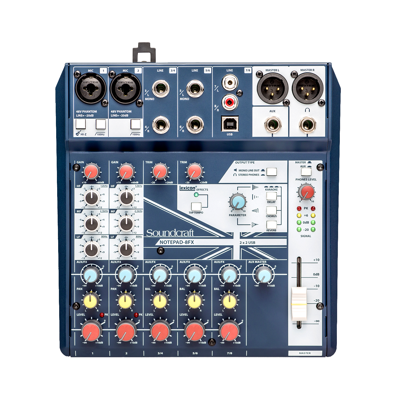 Notepad-8FX - Dark Blue - Small-format analog mixing console with USB I/O and Lexicon effects - Front
