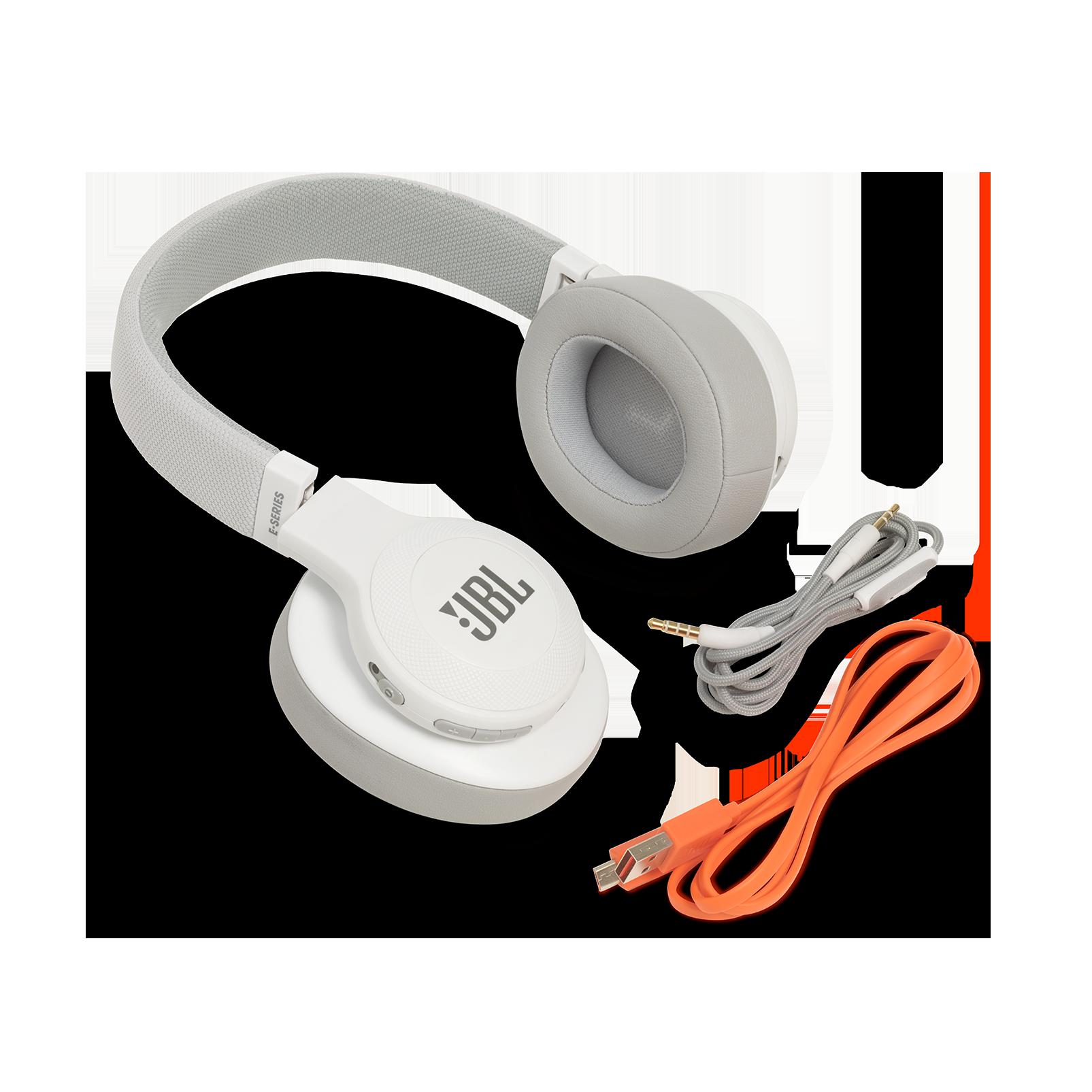 JBL E55BT - White - Wireless over-ear headphones - Detailshot 5