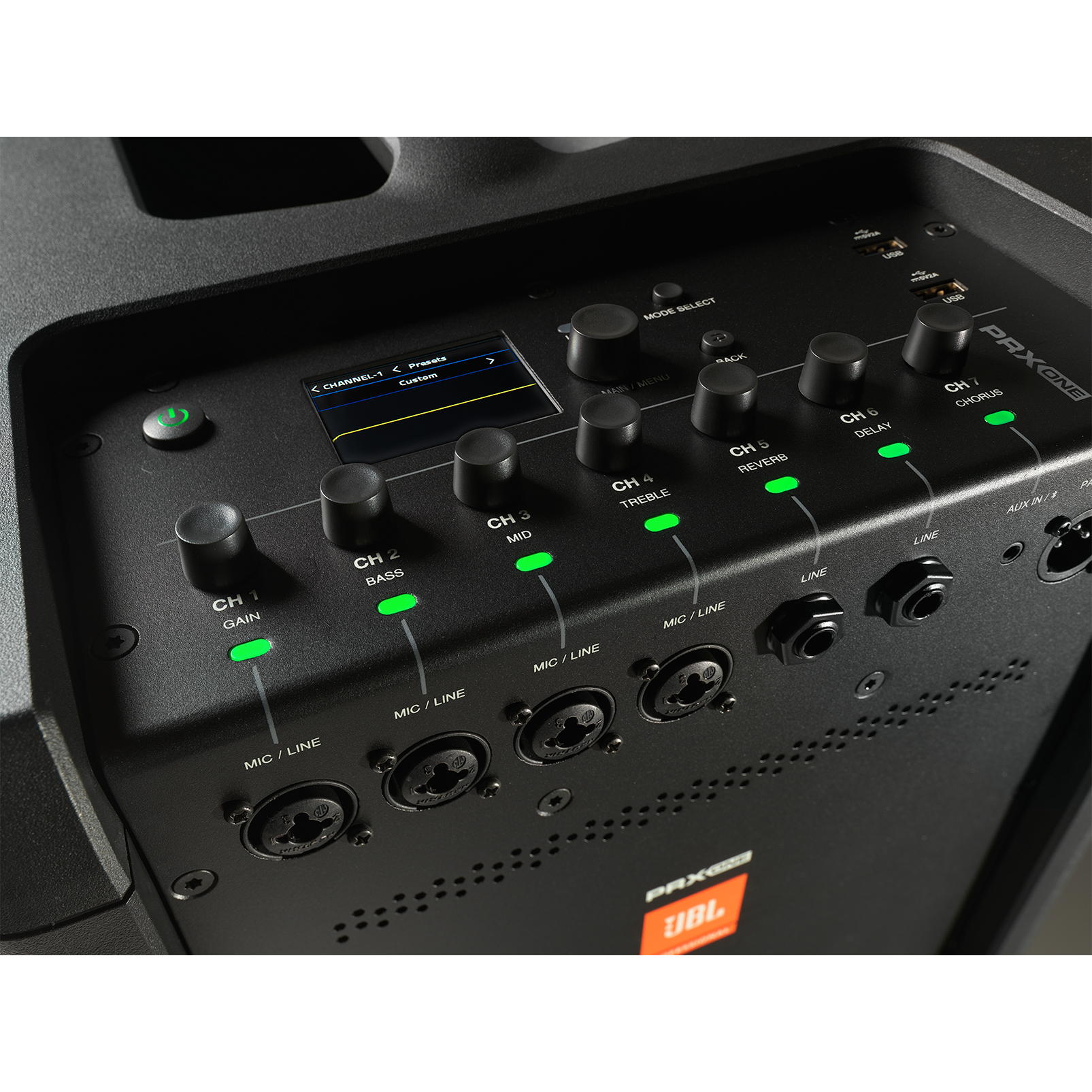 JBL PRX ONE - Black - All-In-One Powered Column PA with Mixer and DSP - Detailshot 1