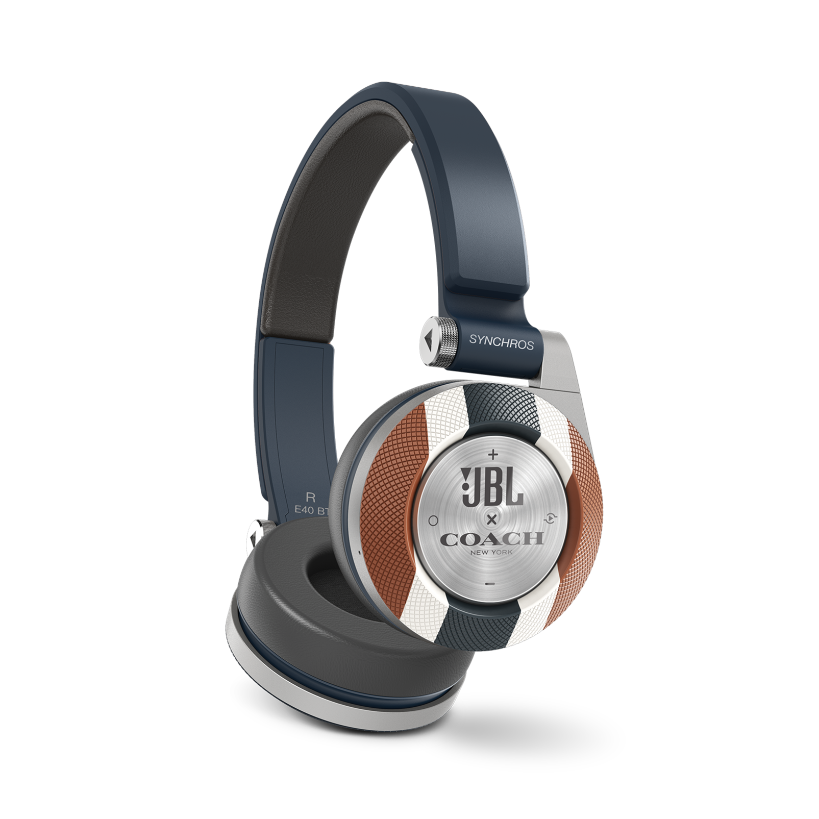 E40BT COACH Limited Edition - Varsity Stripe - On-ear, mobile phone-friendly headphones featuring JBL signature sound, wireless Bluetooth connectivity with ShareMe music sharing, and an ultra-comfortable fit. - Detailshot 1