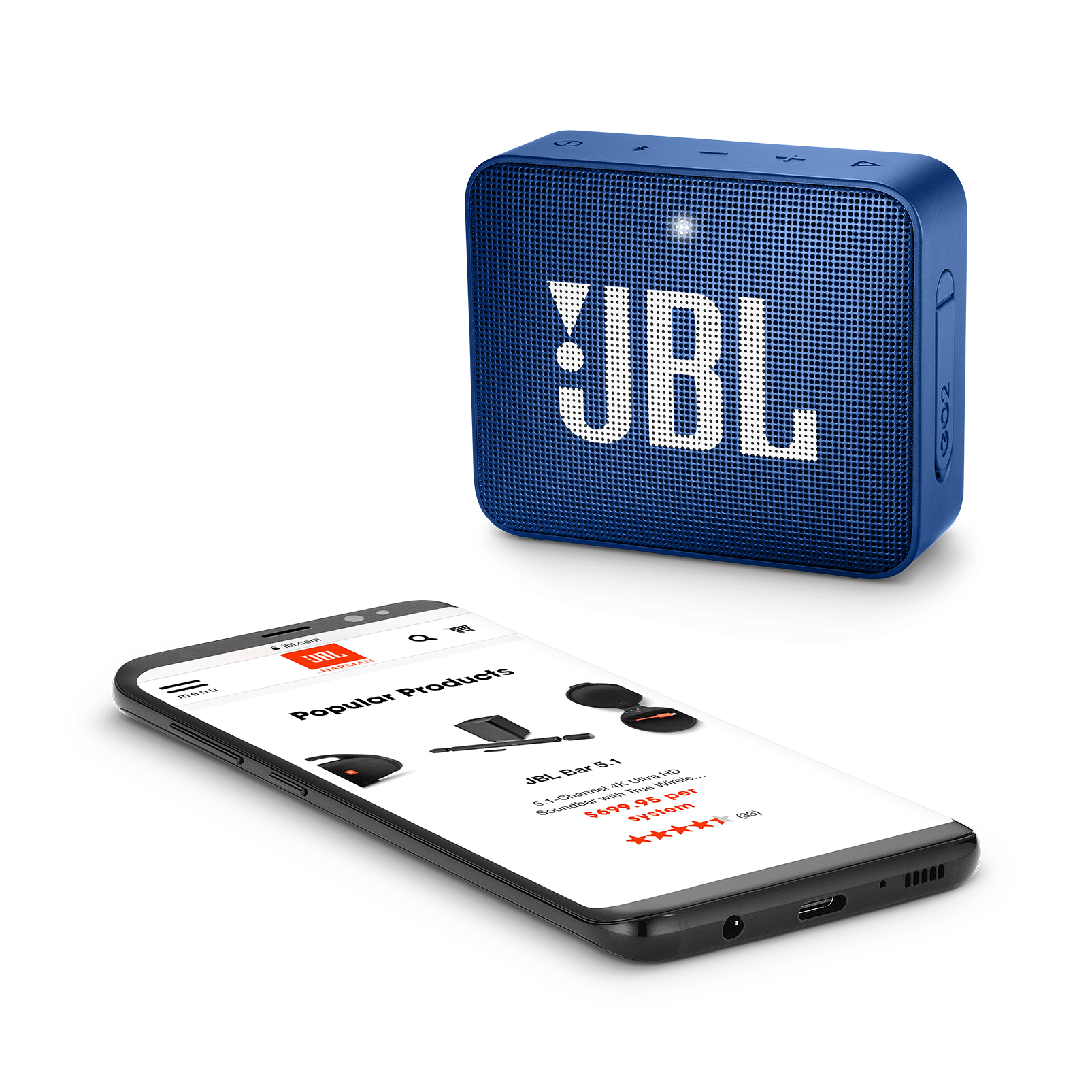 JBL GO 2 - Blue - Portable Bluetooth speaker - Detailshot 3