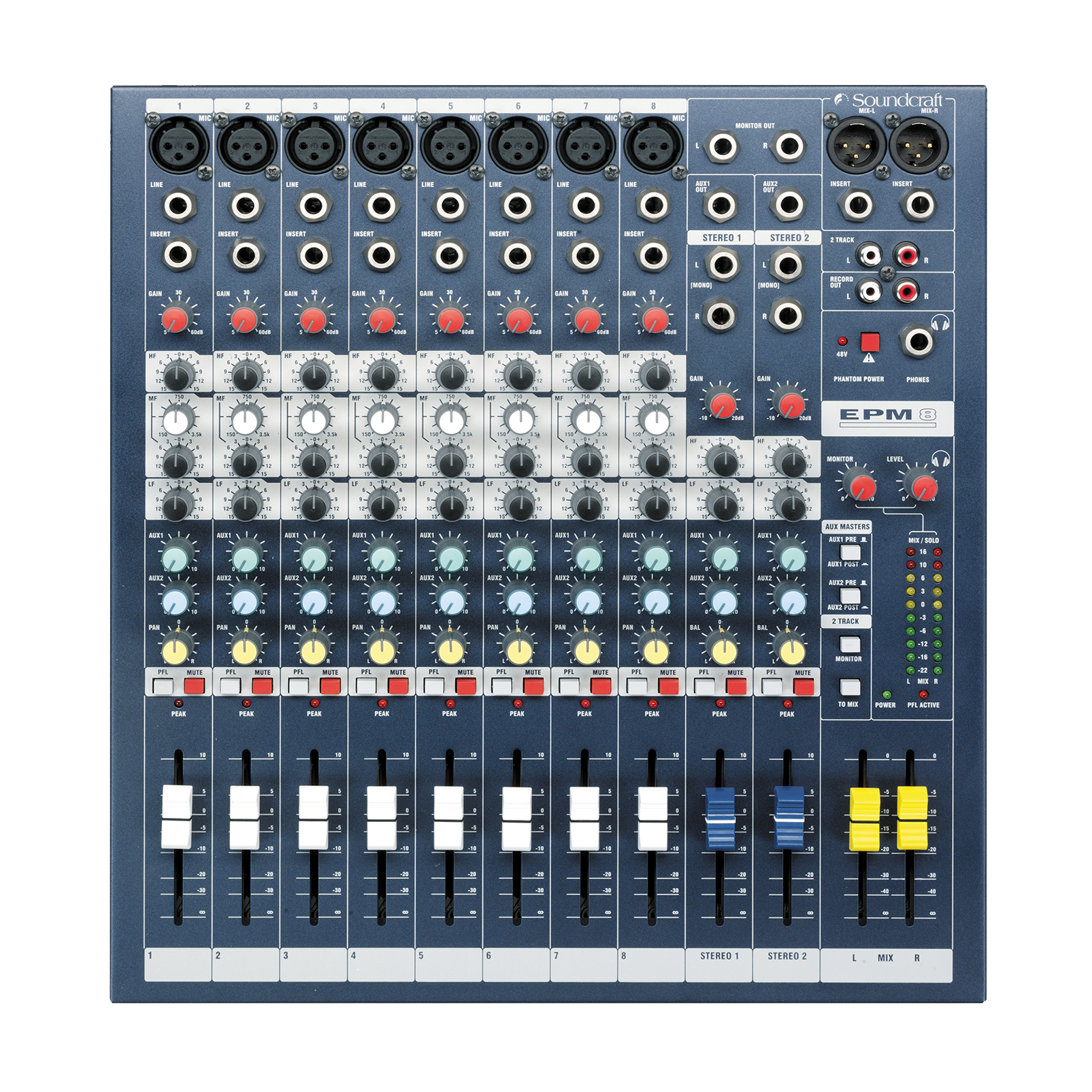 EPM8 - Dark Blue - A multipurpose mixer that carries the hallmarks of Soundcraft's professional heritage. - Detailshot 2