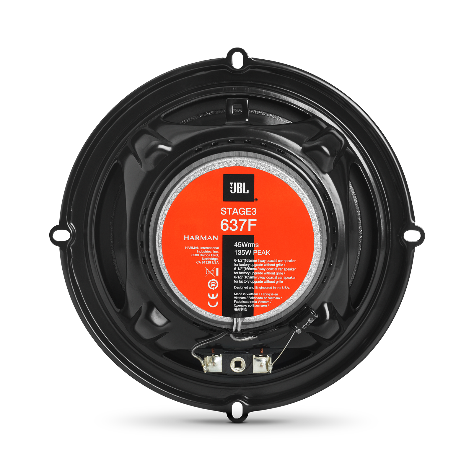 """Stage3 637F - Black - 6-1/2""""(165mm) 3-Way car speaker for factory upgrade without grille - Back"""