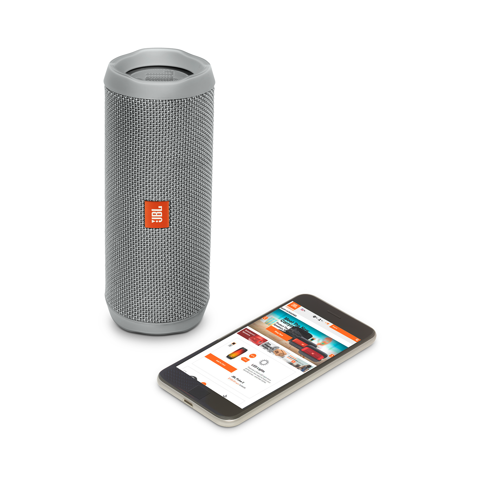 JBL Flip 4 - Grey - A full-featured waterproof portable Bluetooth speaker with surprisingly powerful sound. - Detailshot 2