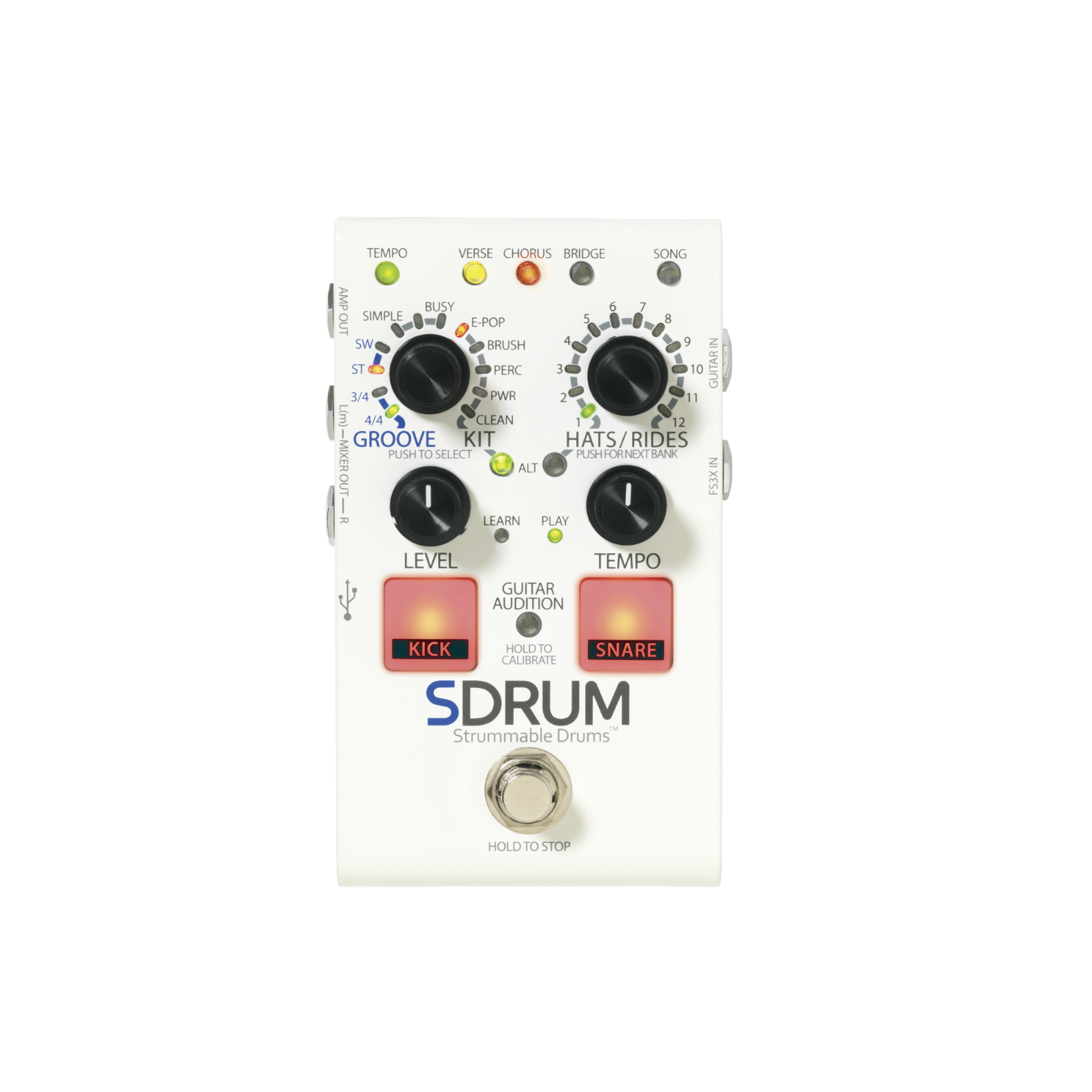 SDRUM - White - Strummable Drums - Front