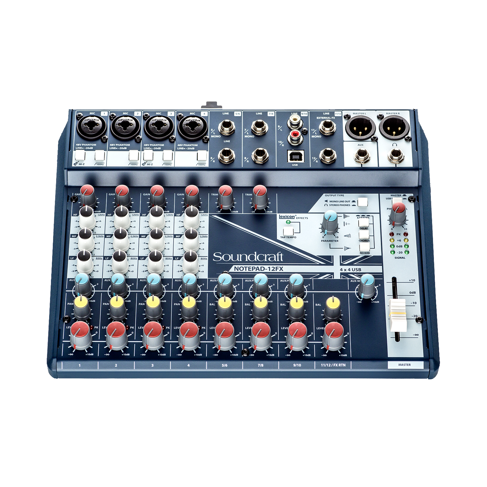 Notepad-12FX - Dark Blue - Small-format analog mixing console with USB I/O and Lexicon effects - Detailshot 3