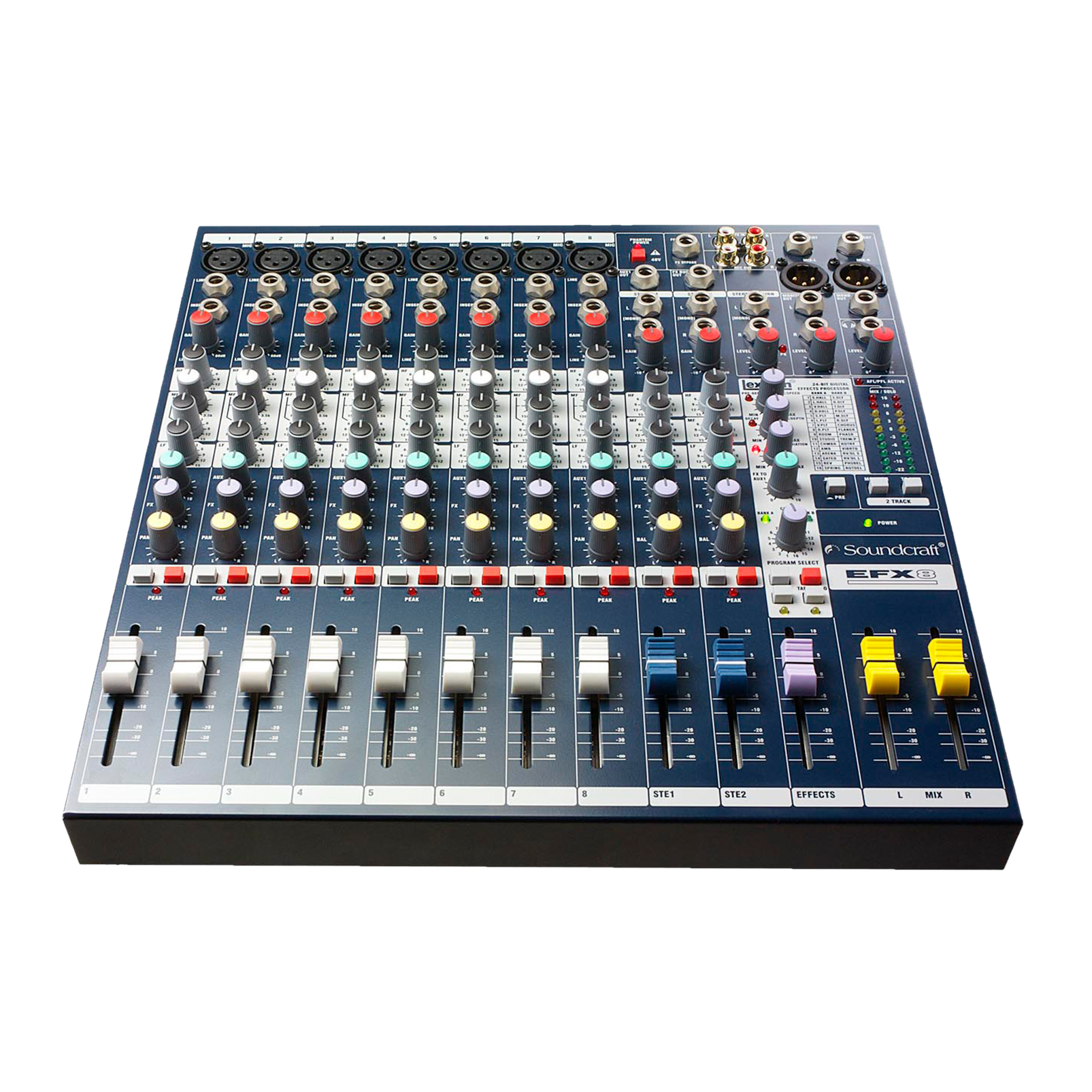 EFX8 - Dark Blue - Compact analogue 8 channel mixer with built-in effects - Detailshot 1