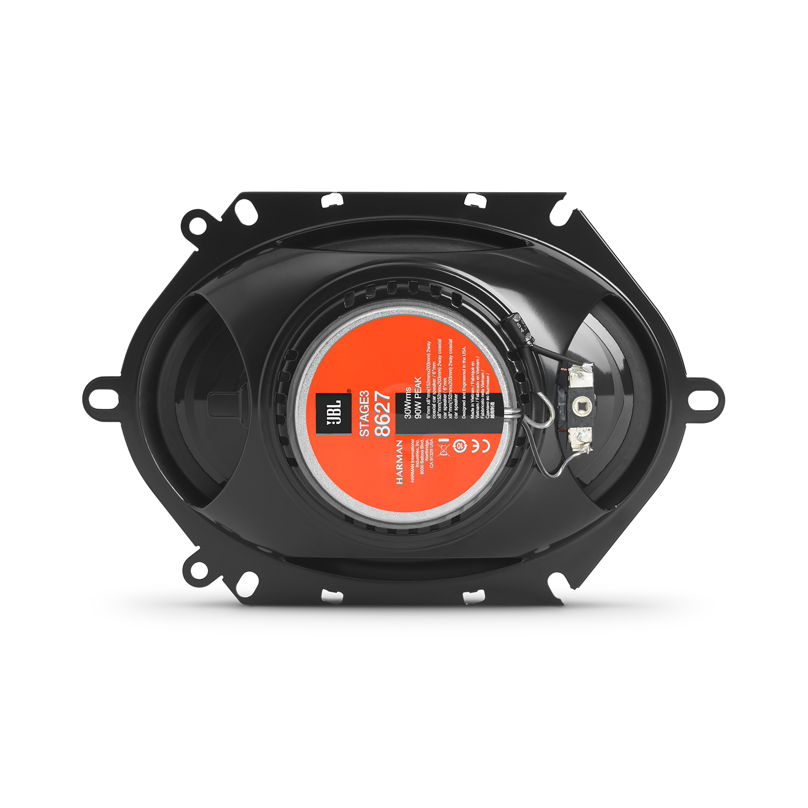 "Stage3 8627 - Black - 6"" x8""(152mmx203mm)  2-Way coaxial  car speaker - Back"