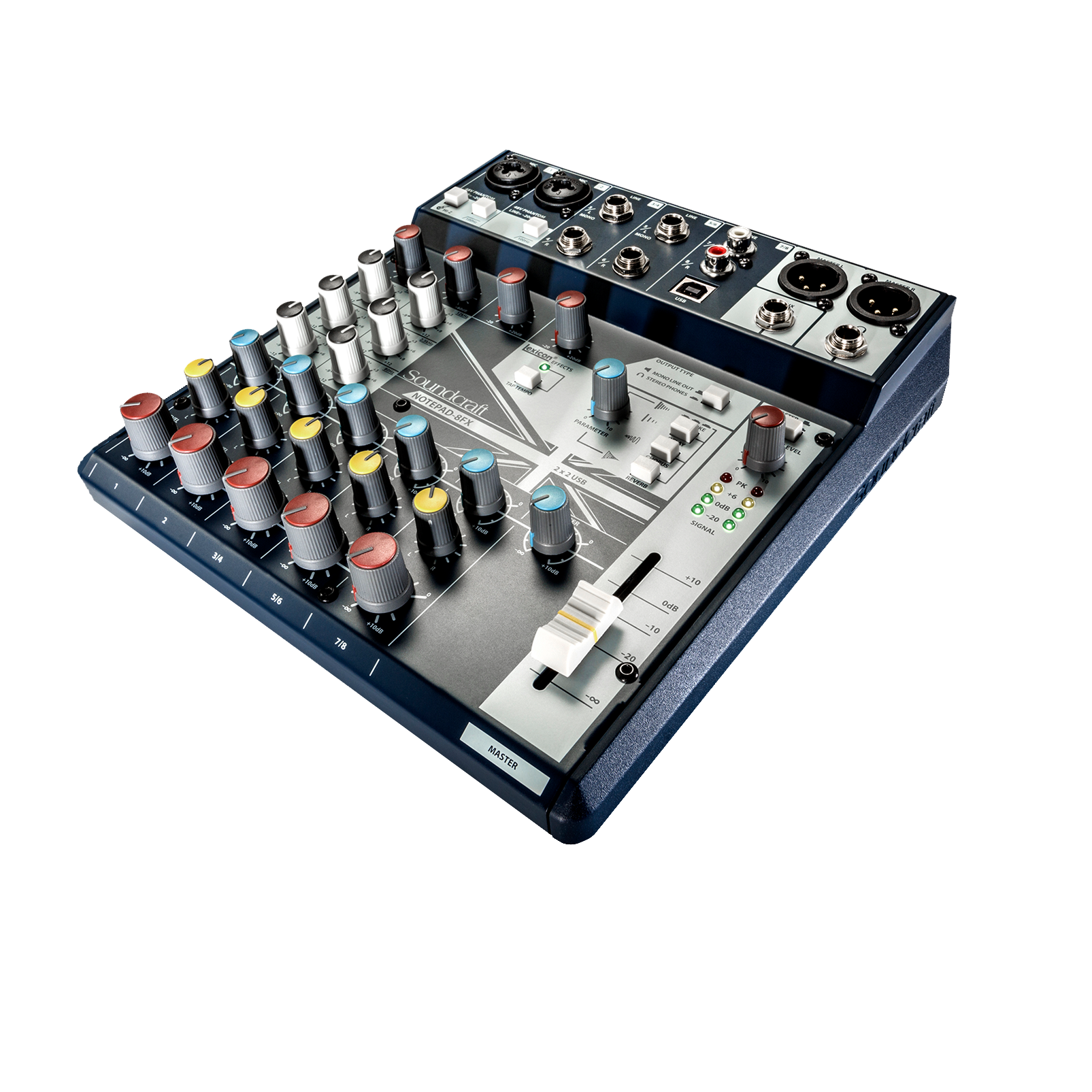 Notepad-8FX - Dark Blue - Small-format analog mixing console with USB I/O and Lexicon effects - Detailshot 2