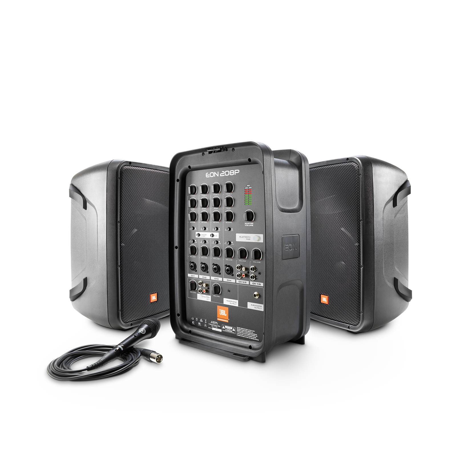 """JBL EON208P - Black - Portable 8"""" 2-Way PA with Powered 8-Channel Mixer and Bluetooth® - Hero"""