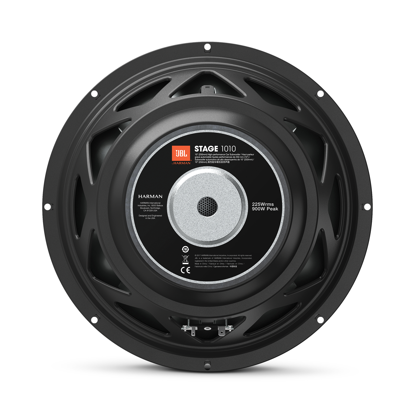 "JBL Stage 1010 Subwoofer - Black - 10"" (250mm) woofer with 225 RMS and 900W peak power handling. - Back"