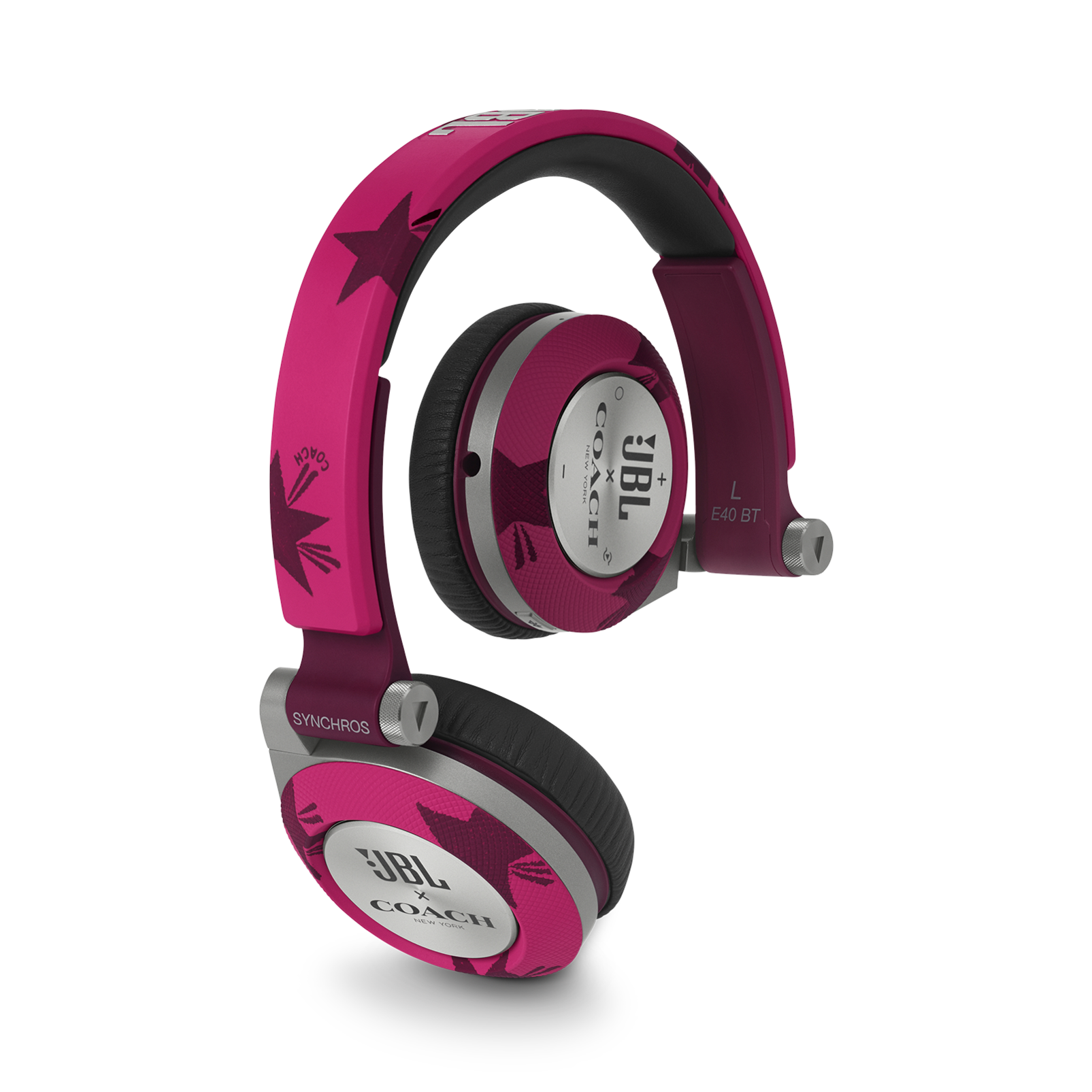 E40BT COACH Limited Edition - Cranberry/Shooting Star - On-ear, mobile phone-friendly headphones featuring JBL signature sound, wireless Bluetooth connectivity with ShareMe music sharing, and an ultra-comfortable fit. - Hero