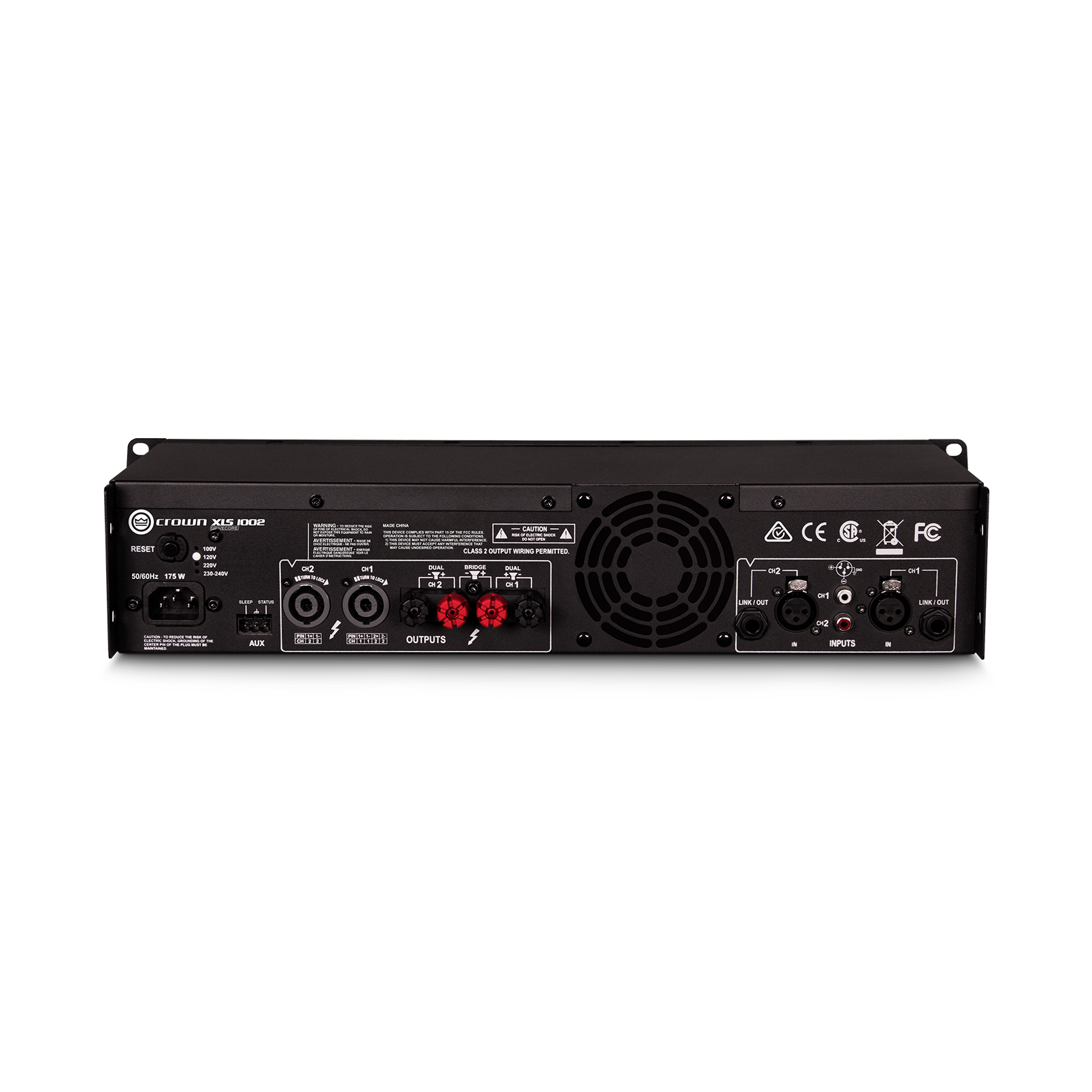 XLS 1002 - Black - Two-channel, 350W @ 4Ω power amplifier - Back