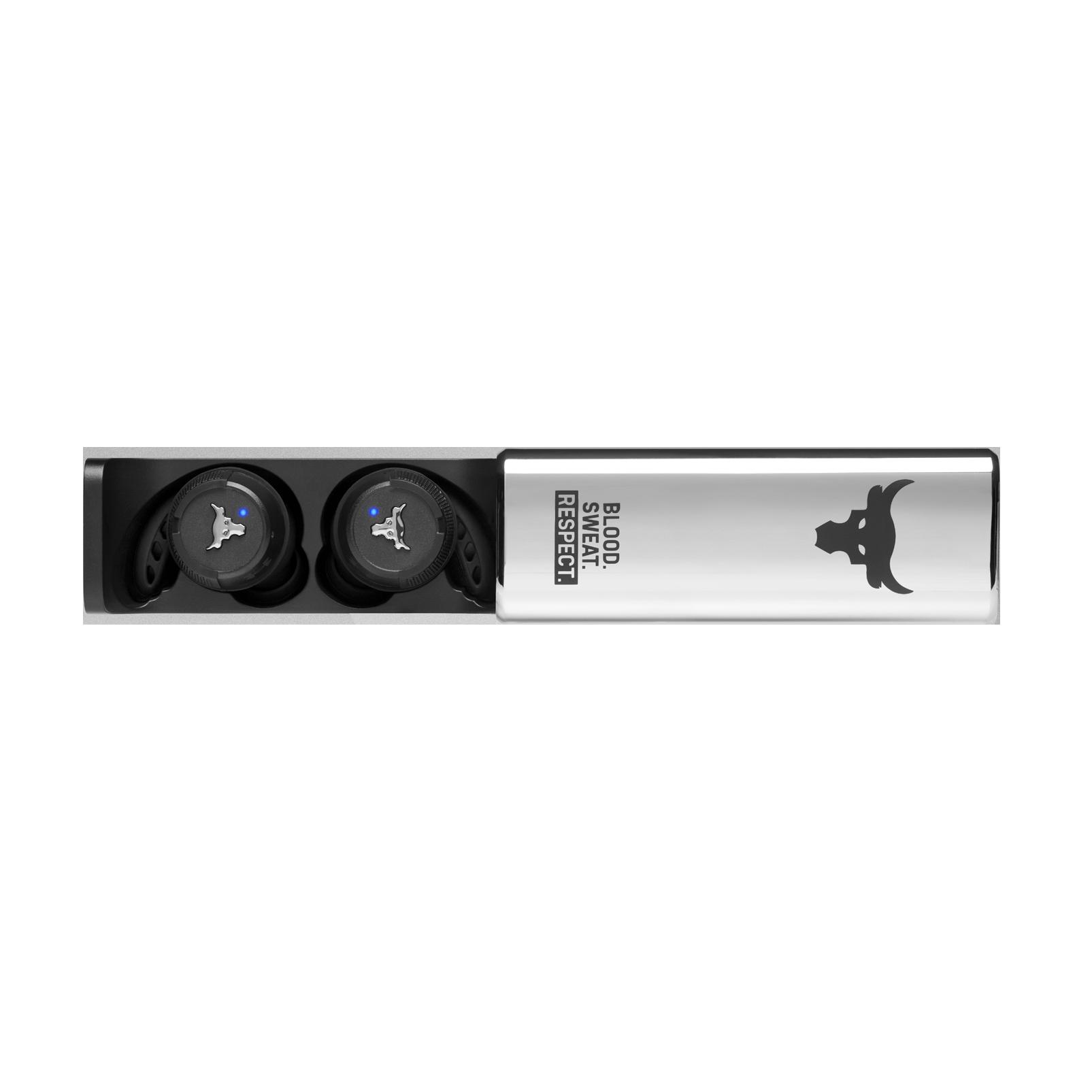 UA Project Rock True Wireless X - Engineered by JBL - Black - In-Ear Sport Headphones - Detailshot 5
