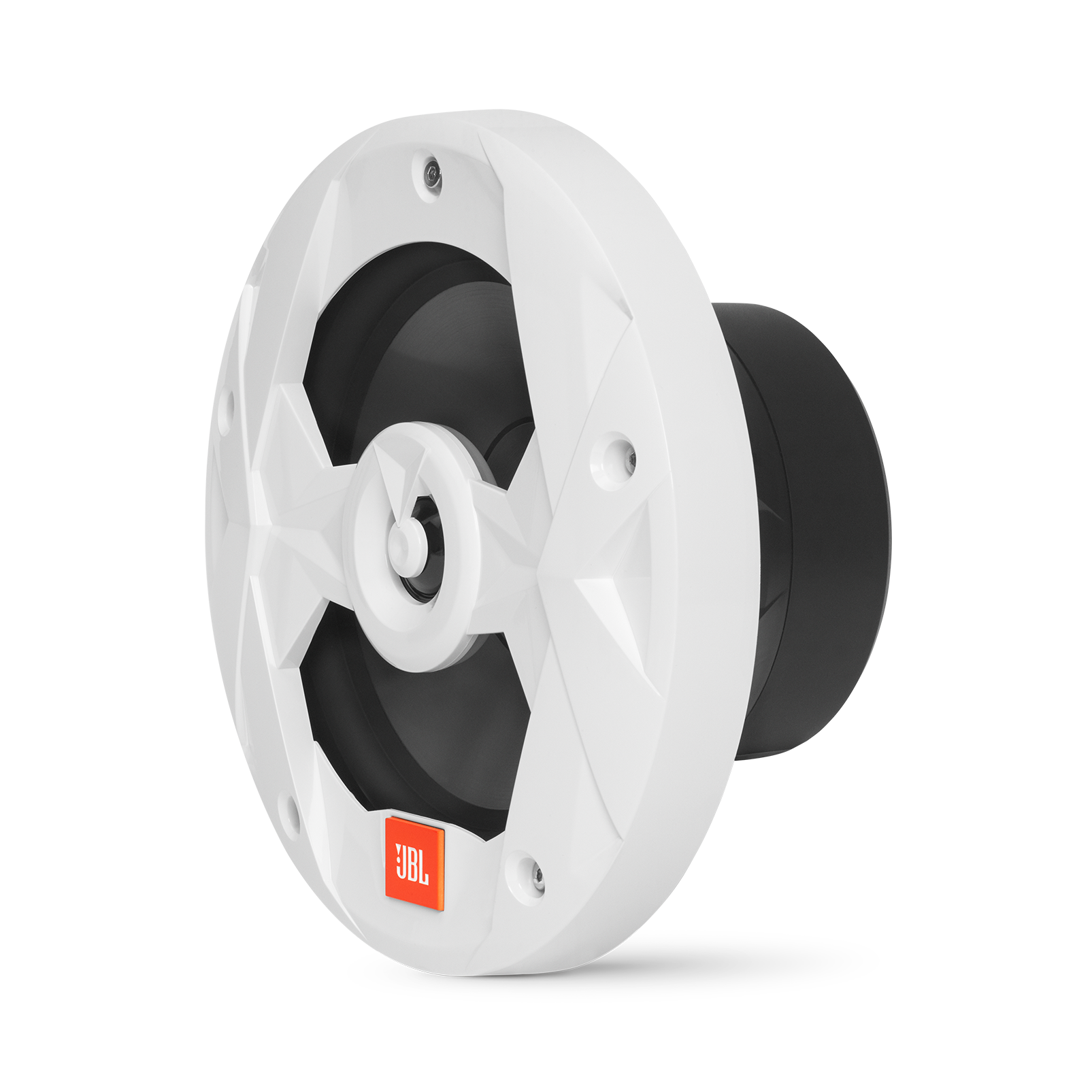 "Club Marine MS8LW - White Gloss - Club Marine MS8LW—8"" (200mm) two-way marine audio multi-element speaker with RGB lighting – White - Left"
