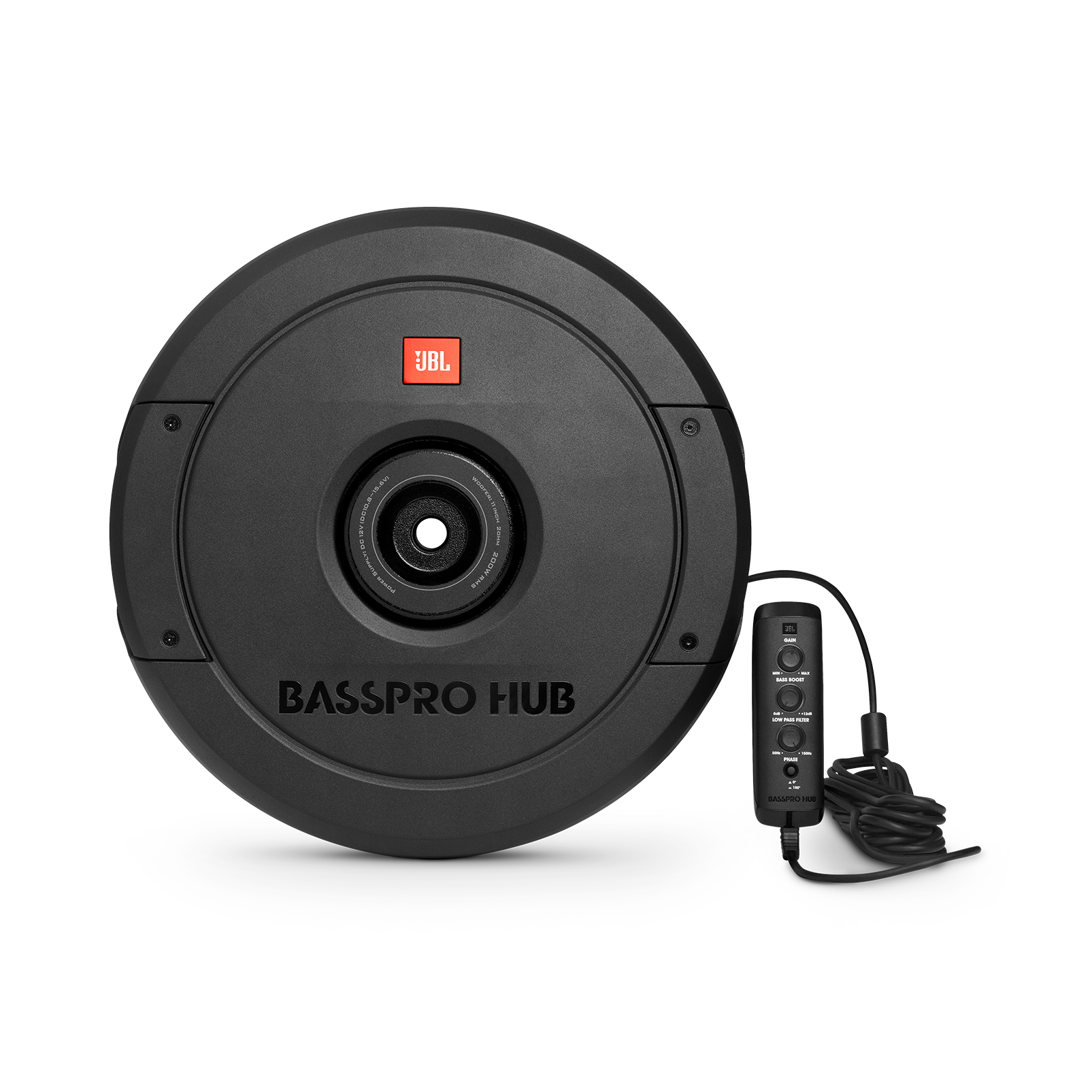 "JBL BassPro Hub - Black - 11"" (279mm) Spare tire subwoofer with built-in 200W RMS amplifier with remote control. - Hero"
