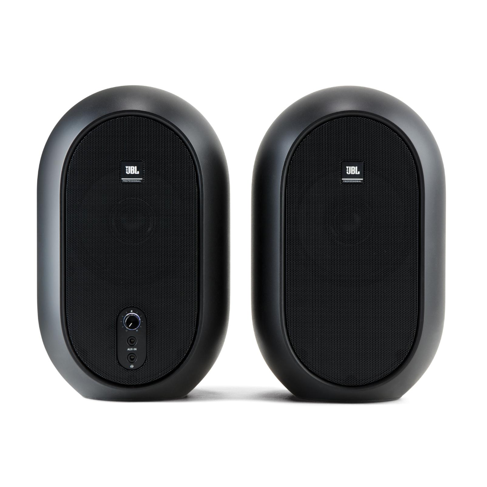 JBL 104 (Pair) (B-Stock) - Black - Compact Powered Desktop Reference Monitors - Front