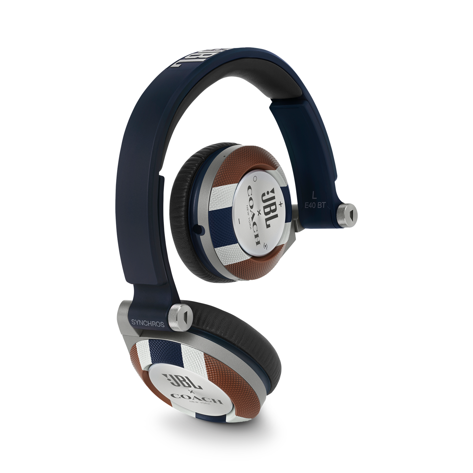 E40BT COACH Limited Edition - Varsity Stripe - On-ear, mobile phone-friendly headphones featuring JBL signature sound, wireless Bluetooth connectivity with ShareMe music sharing, and an ultra-comfortable fit. - Hero