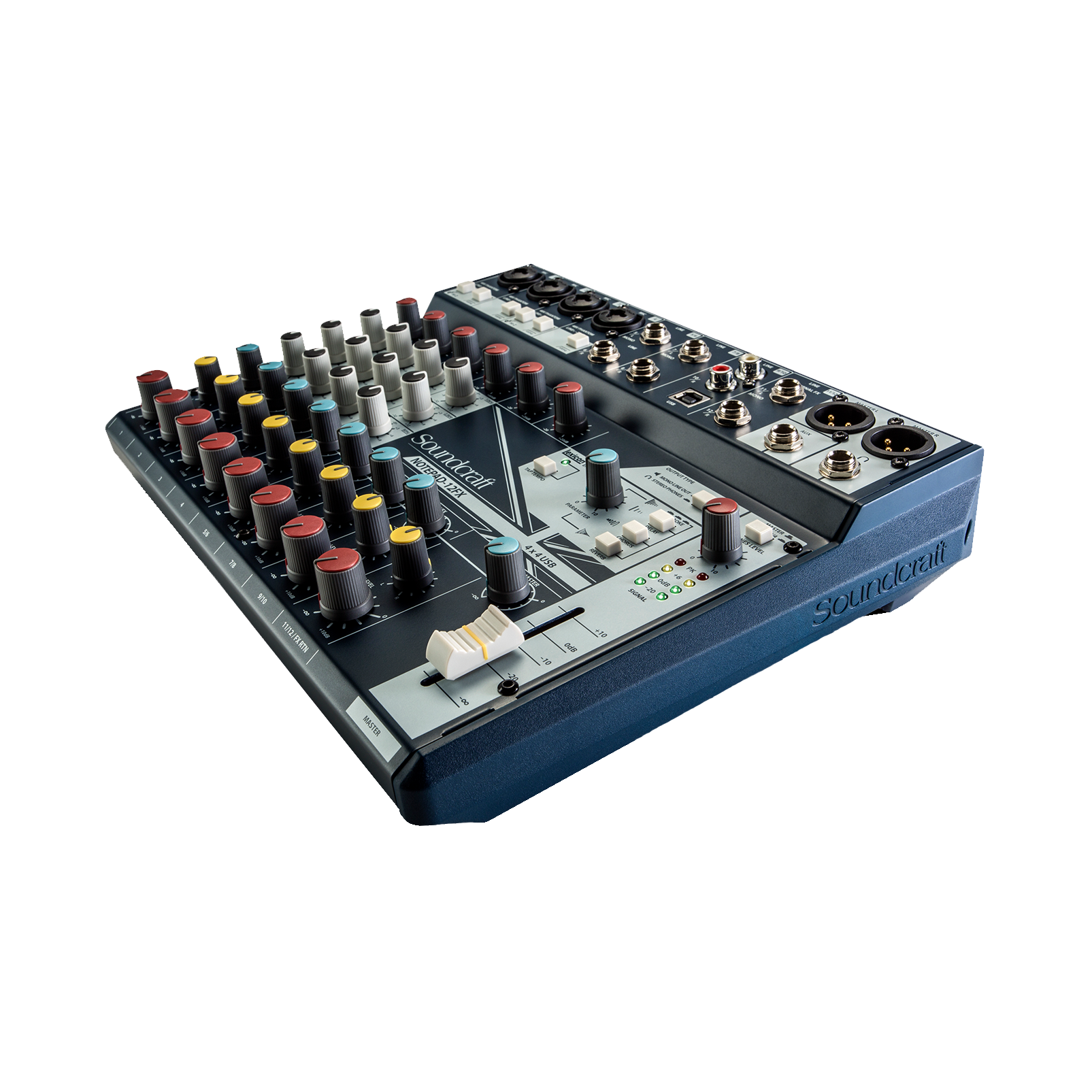 Notepad-12FX - Dark Blue - Small-format analog mixing console with USB I/O and Lexicon effects - Detailshot 1